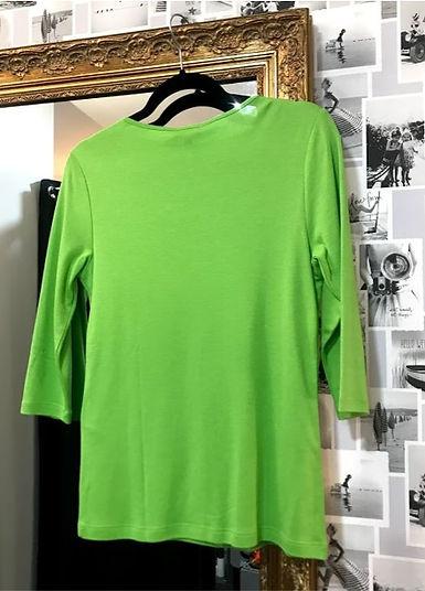 Tee shirt manches trois quart vert dos.j