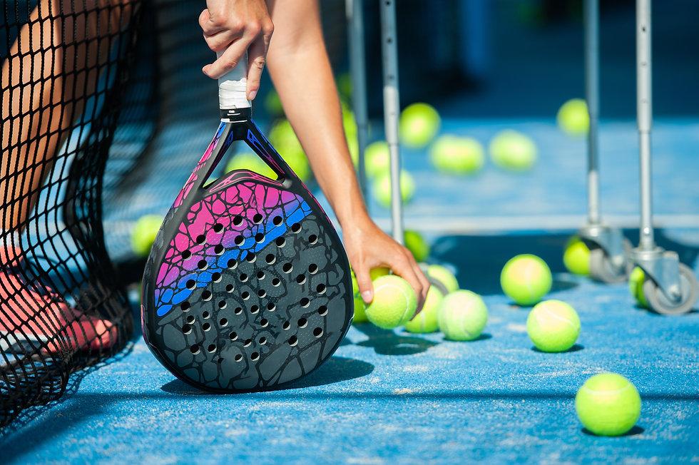 Padel Court Padel racket and balls