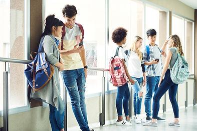 School hallway with high schoolers