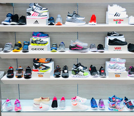National name brand shoe retailer shelf lighting