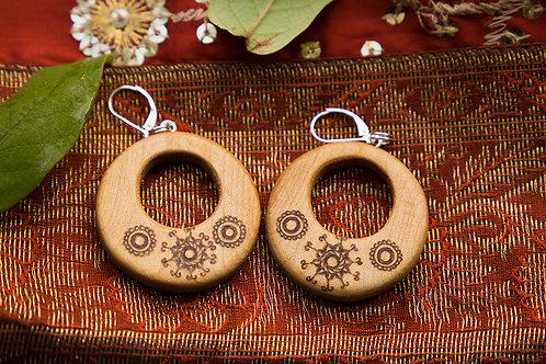 """Ohrringe aus Eibenholz """"Indien"""" 2 in 1"""