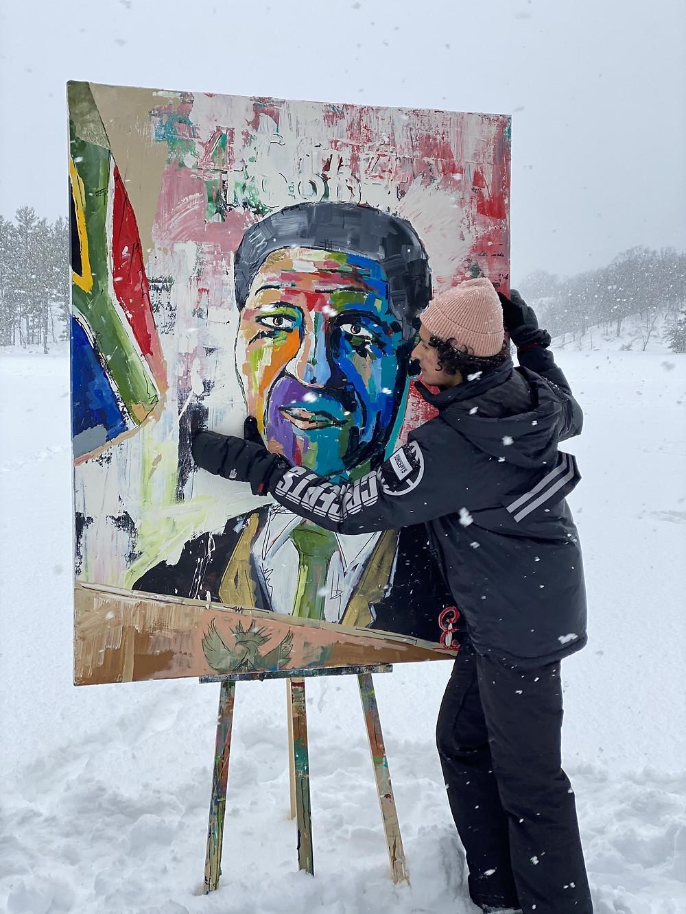 Evan Sharma with 46664 - vibrant Nelson Mandela portrait (CNW Group/CEH Inc)