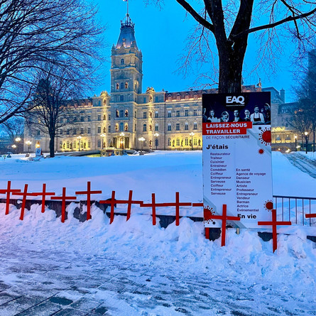 A Cemetery of Quebec Businesses buried in front of the National Assembly
