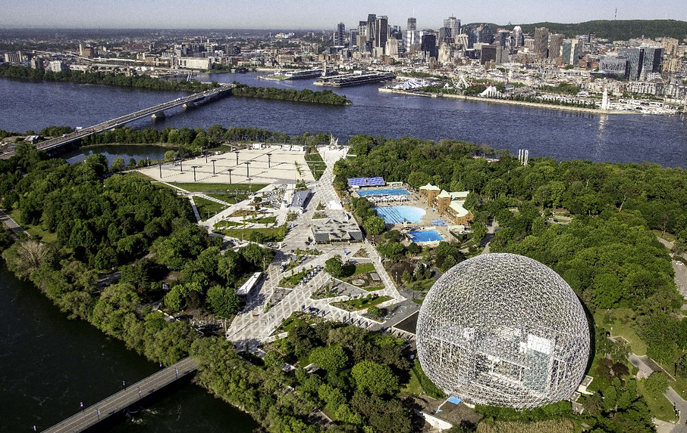 Aerial view of the Biosphere, the parc Jean Drapeau and the city of Montreal-government-canada-quebec