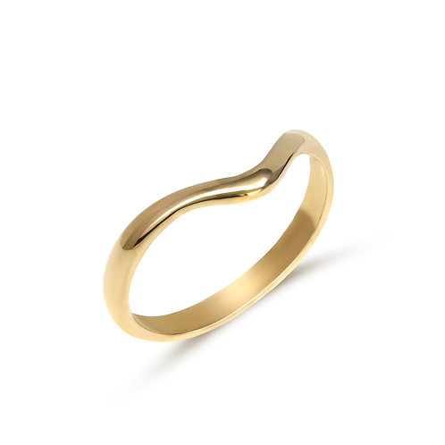 9ct yellow gold curved wedding band