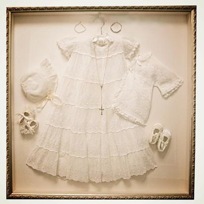 Custom framed Christening gown