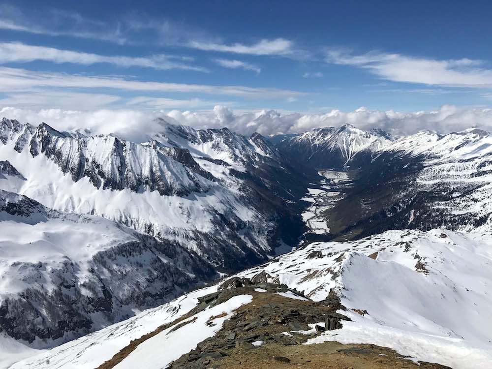 Talblick mit Schneeberge Rotbachlspitze, Pfitscherjoch