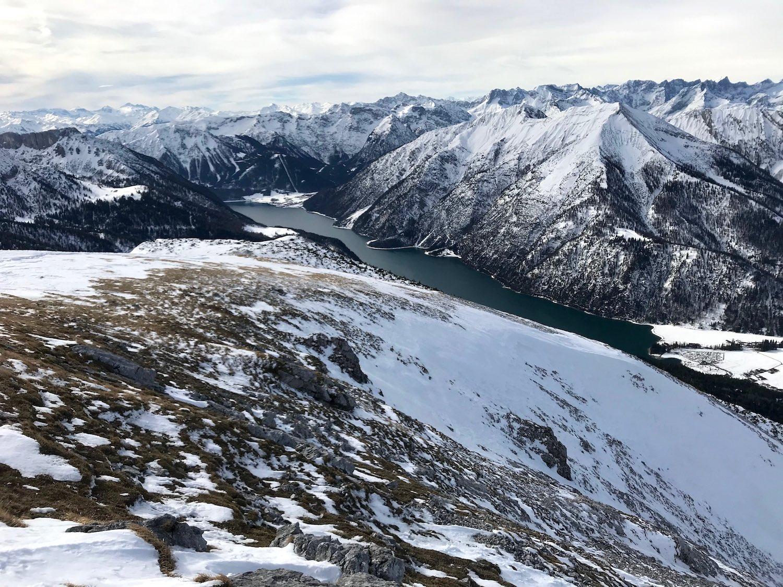 Blick auf den Achensee im Winter, Vorderunnuetz Achensee