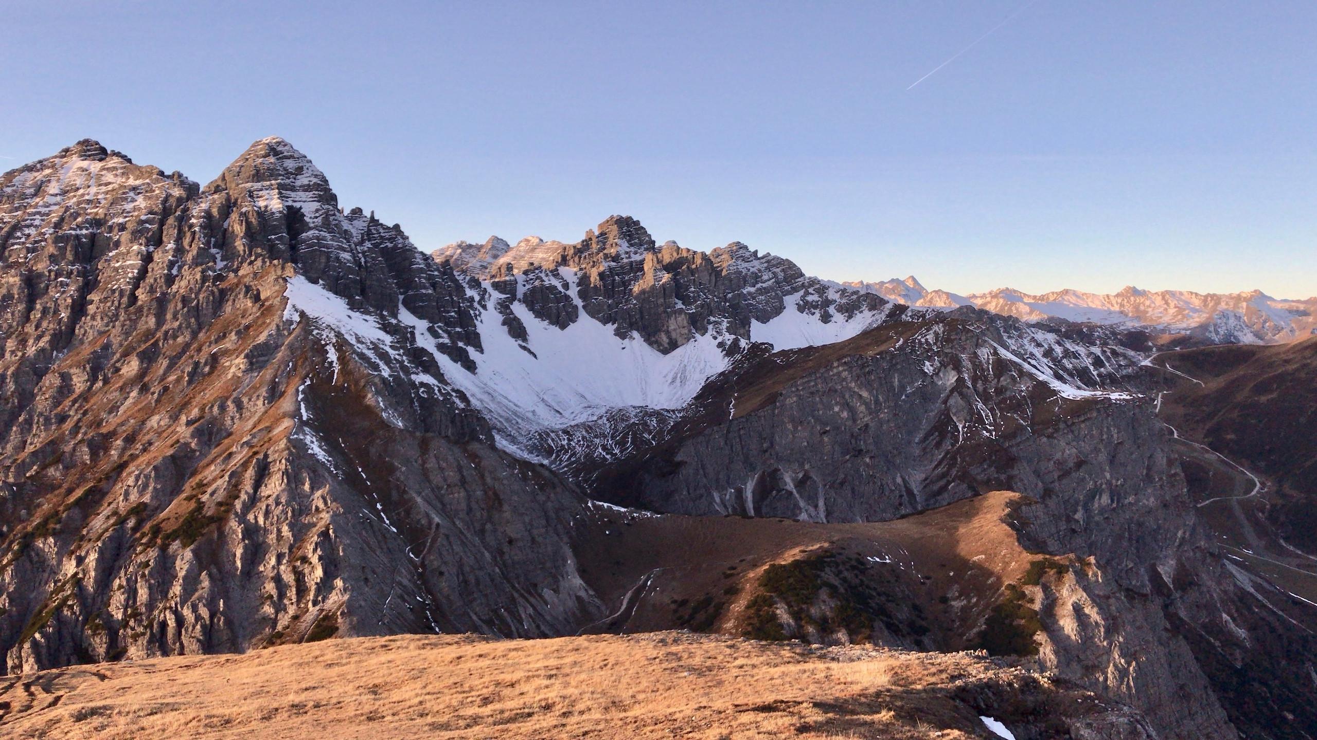 Blick Richtung Kalkkoegel, Sonnenaufgangstour Nockspitze