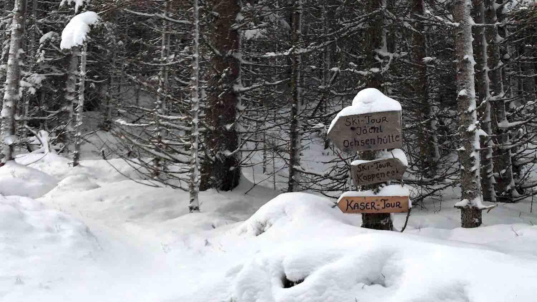 Wegweiser, Skitour Waldraster Joechl