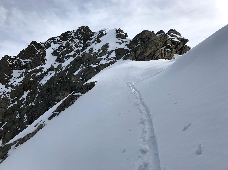 Aufstiegsspur am Steilhang, Wechnerscharte Tirol