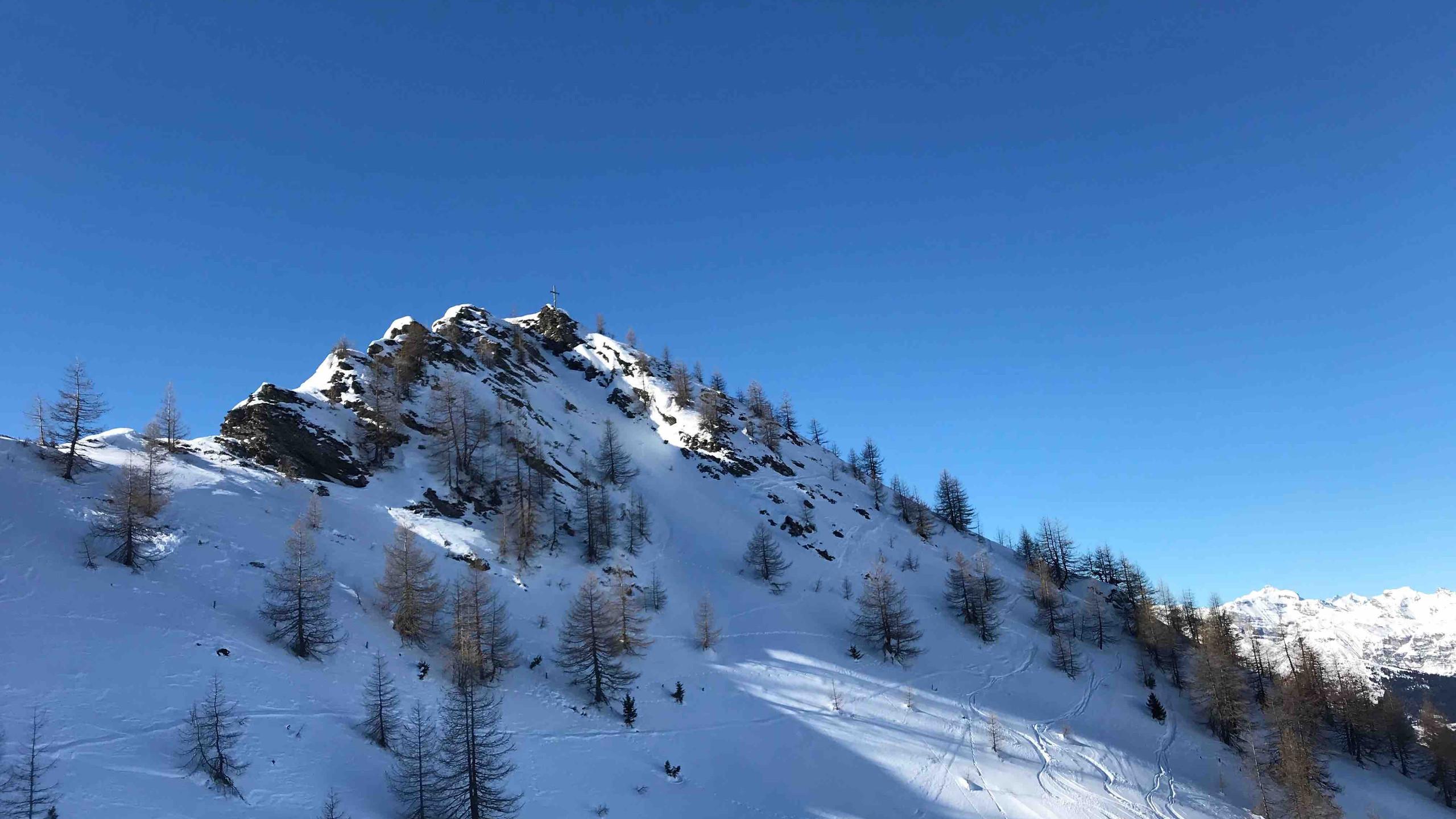 Ottenspitze unter blauem Himmel, Skitour Riepenspitze