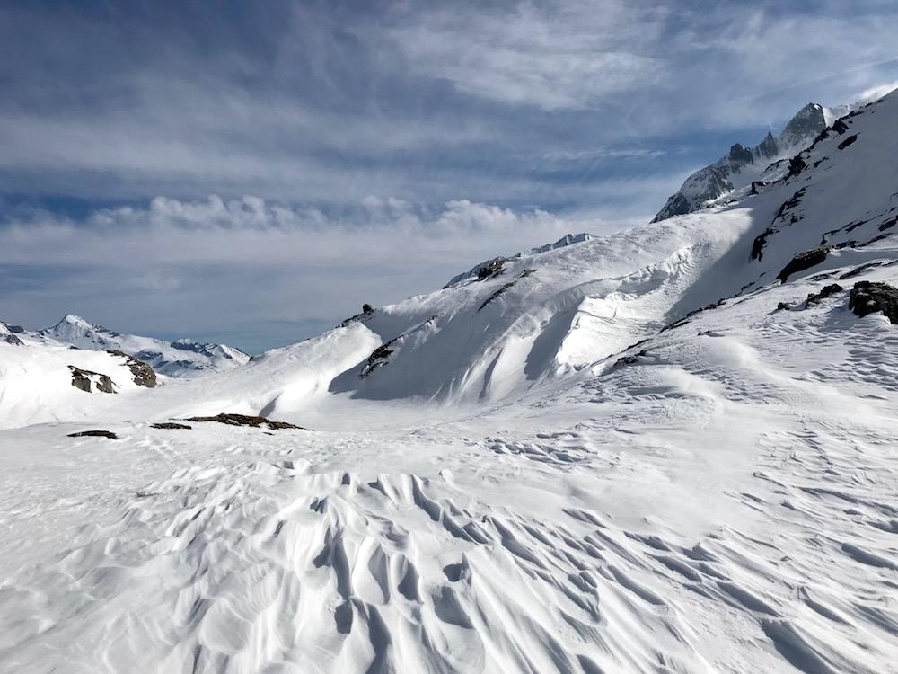 Windverwehungen Skitour Rotbachlspitze, Pfitschertal