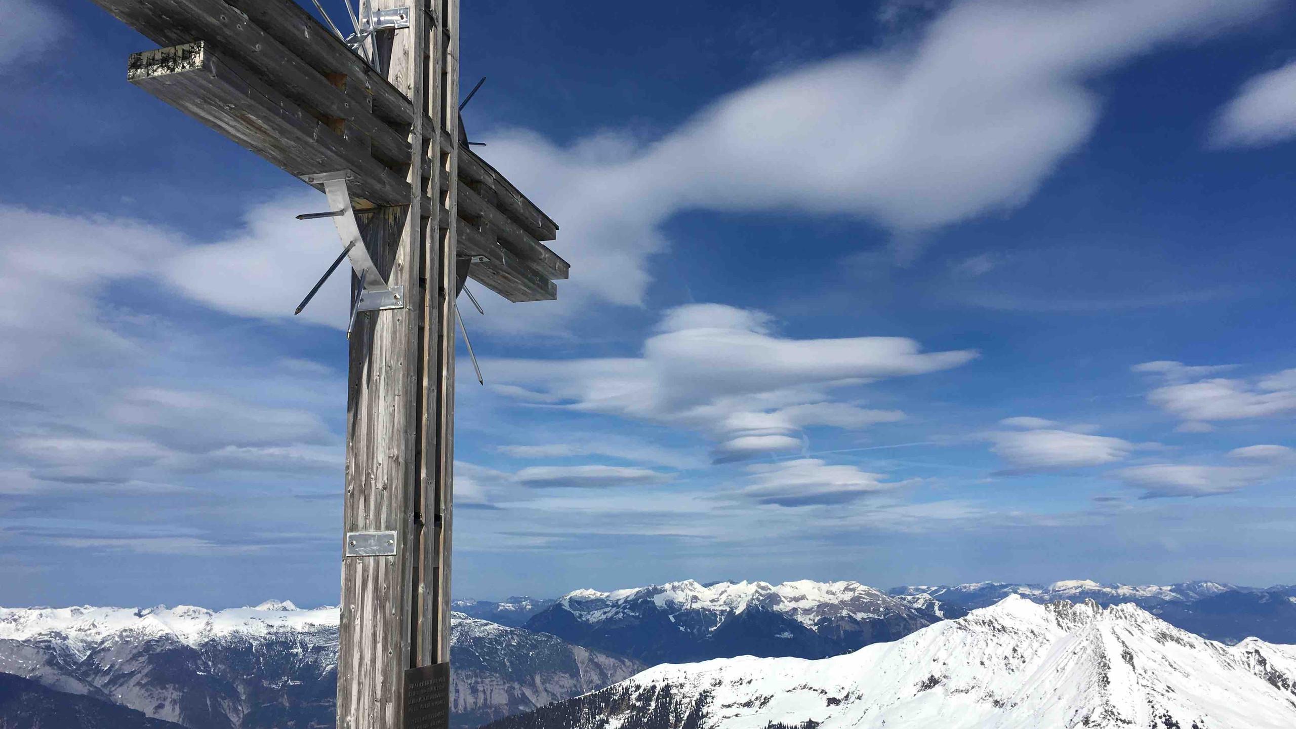 Gipfelkreuz, Skitour Gilfert