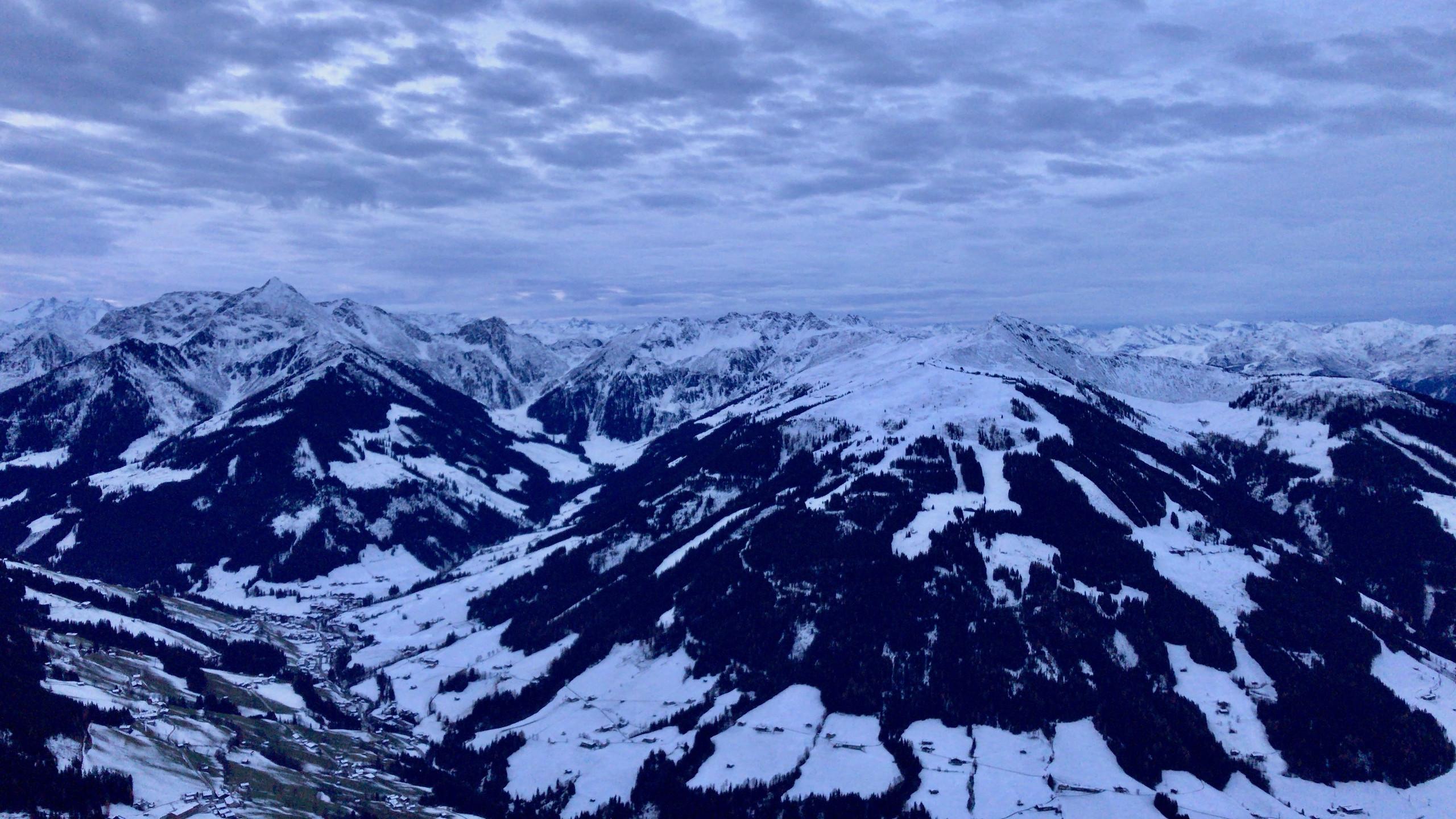 Blick auf Winterberge, Sonnenaufgangstour Alpbachtal