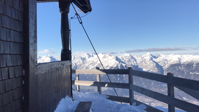 Blick von Kapelle am Gipfel, Skitour Kellerjoch