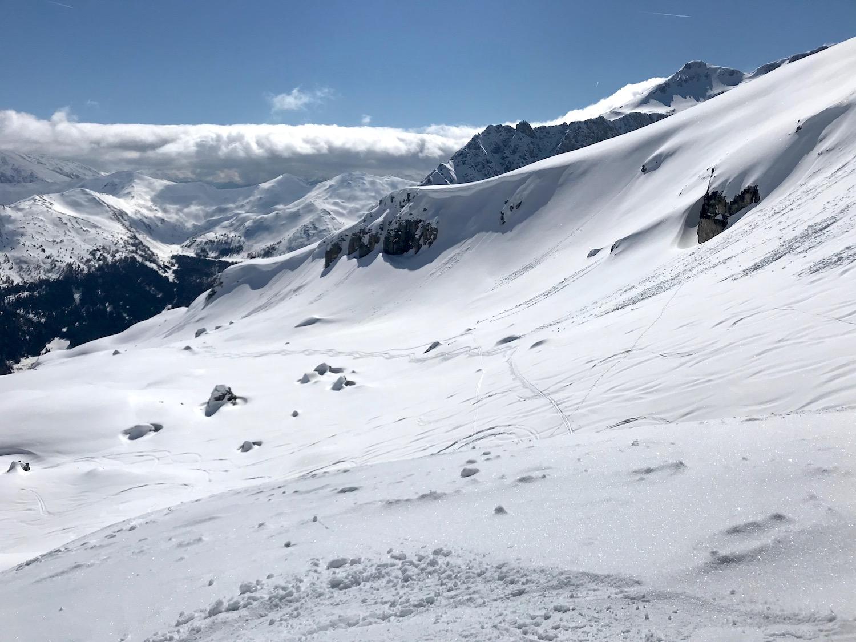 Aufstiegsspur Muttenkopf, Skitour Obernbergtal