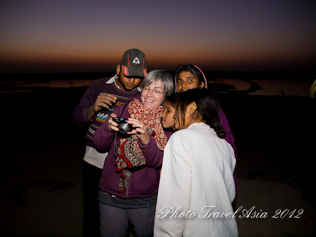 Christine with Dhirubhai family just before sunset in Little Rann of Kutch
