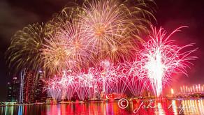 Fireworks on Singapore 50th National Day Golden  Jubilee Celebration