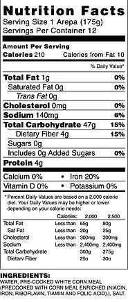 Arepas Nutrition Fact V .jpeg