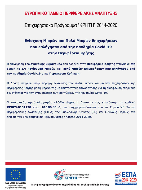 Σύντομη περιγραφή επένδυσης - Γεωργακάκη
