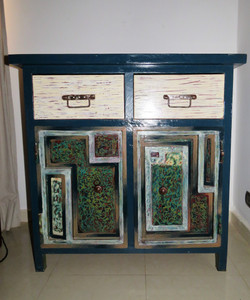 Blue wood and metals nightstand - Loman Art special technic 2