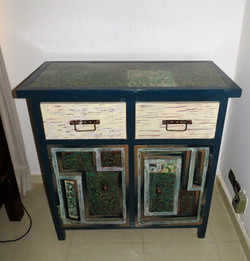 Blue wood and metals nightstand - Loman Art special technic