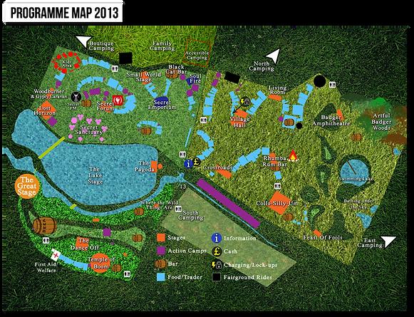 programme map 2013 secret garden party