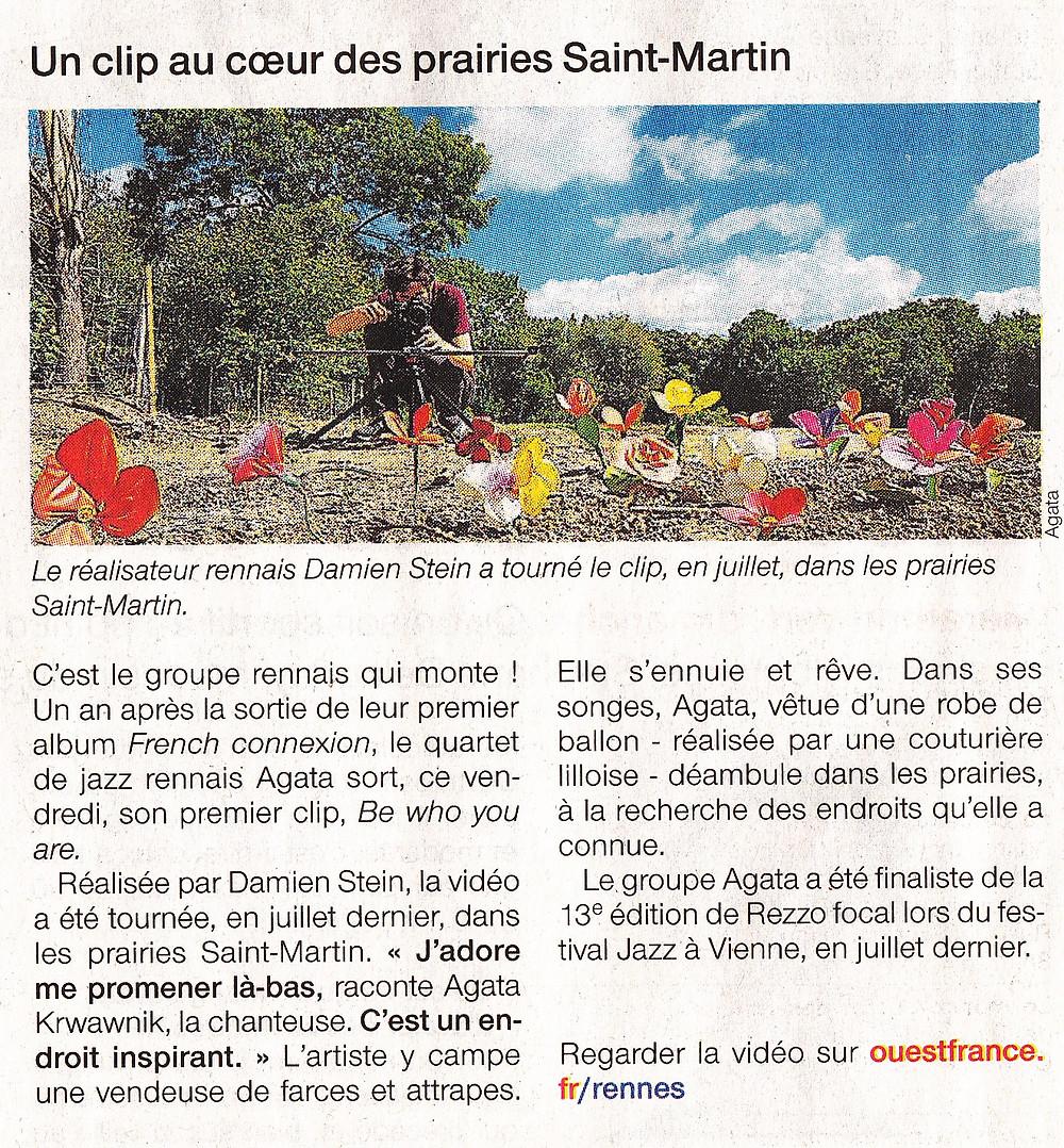 """Le clip """"Be who you are"""" de Agata Krwawnik Quartet dans le Ouest-France Rennes. Clip réalisé par Damien Stein, tourné aux prairies Saint-Martin."""