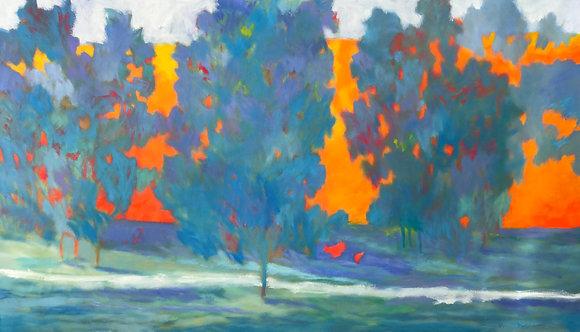 Marshall Noice | Ann's Pond, Maples | Oil on Canvas | 46x80 | 12,000.
