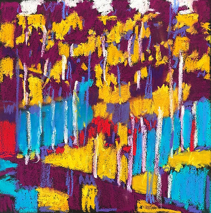 "Marshall Noice | Sun Dappled | Pastel on Paper | 15x15"" | 1,800."