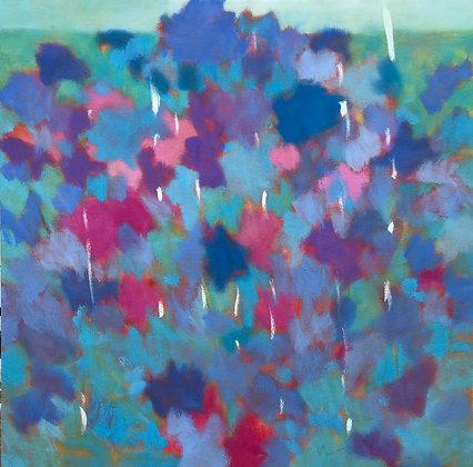 "Marshall Noice   Blue Roses, Adobe   Oil on Canvas   30x30""   4,400."