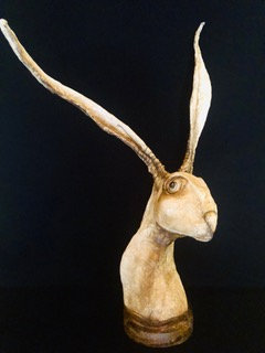 """Kelly Moncur   Neo   Plaster Cloth, Wire, Paper Mache   30"""" tall"""
