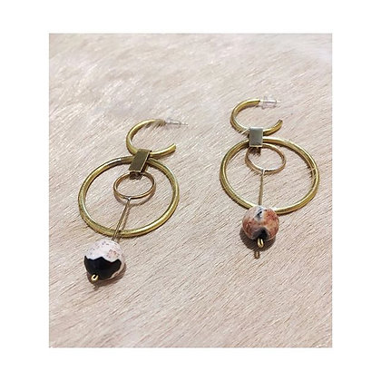 Brass, Fire Agate Hoops | Brass, Fire Agate, Sterling Silver Posts | Elise Davis