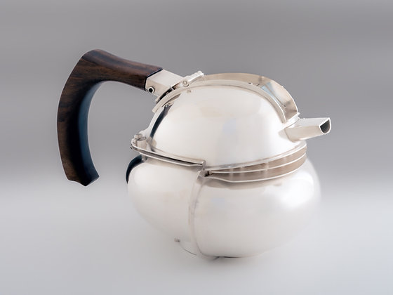 "Leslie Brown | Turret Teapot | Sterling Silver, Rosewood | 4.5x9"""