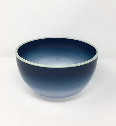 "Eddie Magliaro   Navy Blue Fade Bowl, Butter Lip Wrap   Hot Glass    4x7.5"""