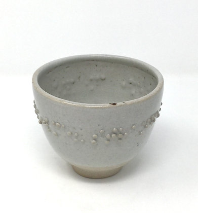 "Tea Bowl with Braille | ""Strange violin, do you follow me?"" |Ceramic | 3.5x4.5"