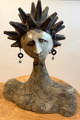 "La Corona (The Crown) | Wire, Plaster, Paper Mache, Polymer Clay | 22"" tall"