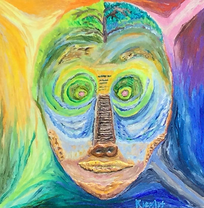 "David Klepitsch | Mask Lake | Acrylic, Handcrafted Antipasto | 20x20"" | 750."