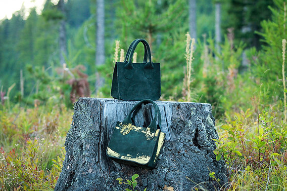 """Gilded Zoe   Forest Green Suede, Gold Foil   9x7x3"""""""