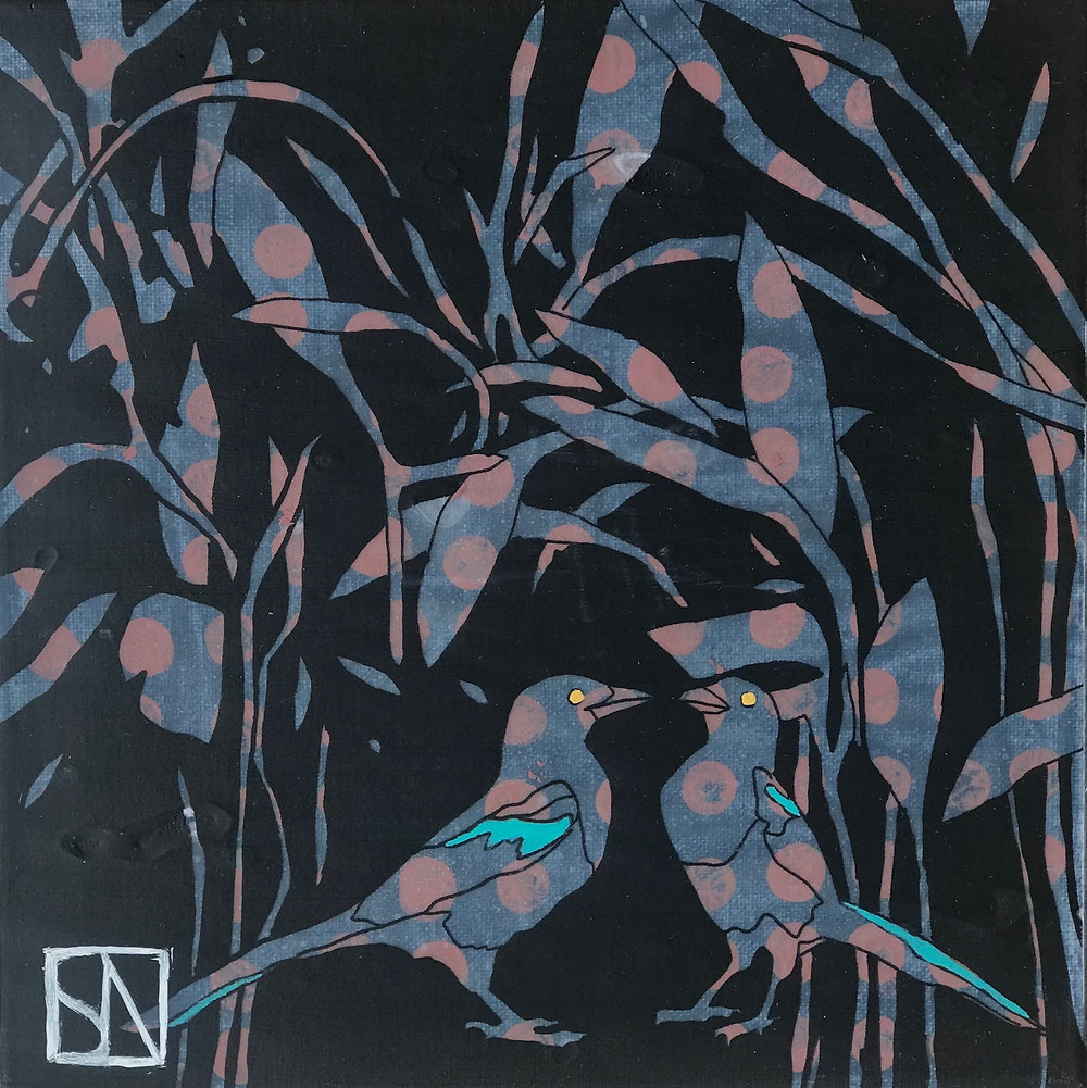 magpies and foliage, mixed media painting