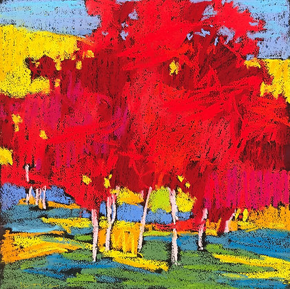 "Marshall Noice   Last Green   Pastel on Paper   15x15""   1,800."