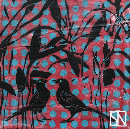 Magpies II | Acrylic on Canvas | 10x10""