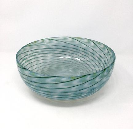 "Eddie Magliaro | Opal, Adventurine Green Bowl | Hot Glass | 4x9"""