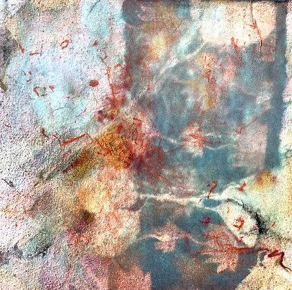 "Juliane Ketcher | Postcard #10 | Mixed Media on Wood | 6x6"""