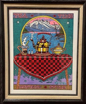 "Rocky Hoerner | Tea Time, Montana Style | Acrylic, Ink | 20x16"""