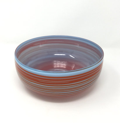 "Opal Baby Blue with Orange Wrap    Hot Glass   3.25x9.5"""
