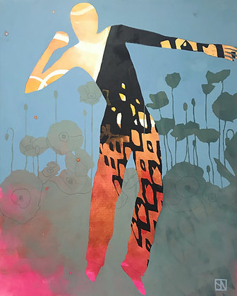 "Sarsten Noice   Poppy Dancer   Acrylic on Canvas   60x48"""