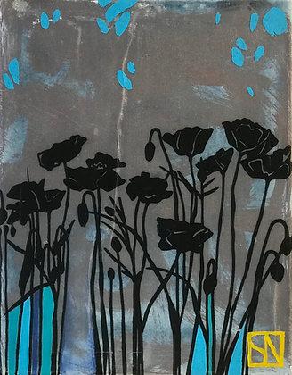 "Sarsten Noice   Poppies I   Mixed Media on Canvas   14x11"""