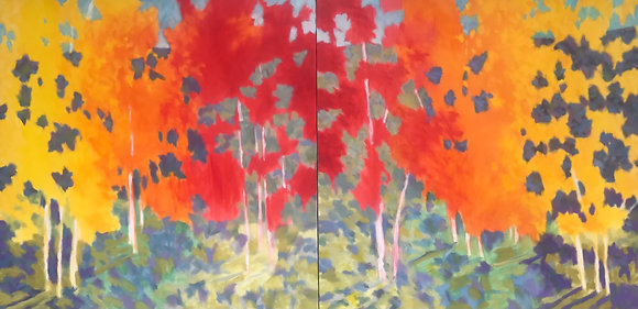 "Marshall Noice | Darkness and Light | Oil on Canvas | 48x96"" Diptych"